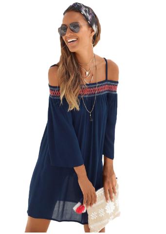 Letní boho šaty modré  8807303391